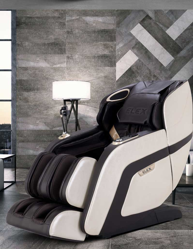Calmer massage chair in white and brown colouring